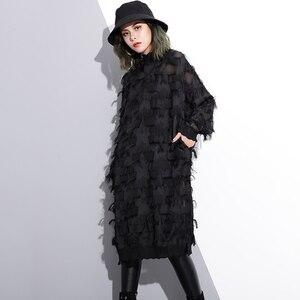 Image 2 - [EAM] 2020 חדש אביב סתיו צווארון עומד ארוך שרוול פרספקטיבת שחור רופף גדילים גדול גודל שמלת נשים אופנה גאות JI780