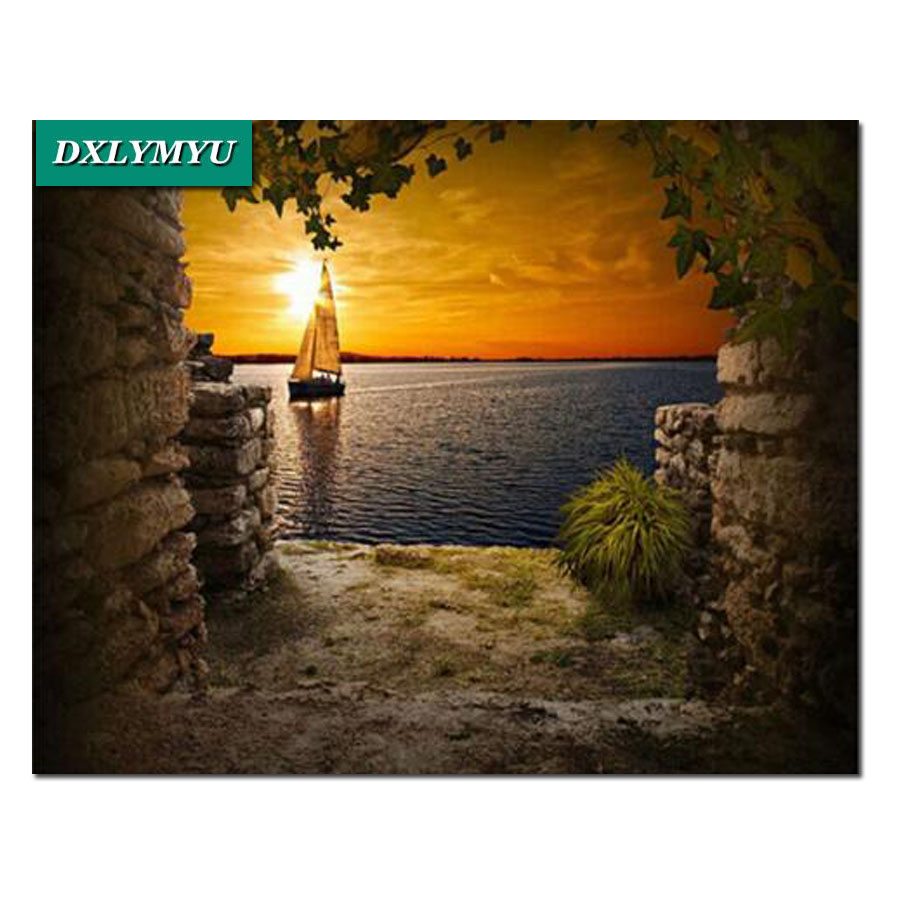 Craft DIY diamond embroidery 5D diy diamond painting sea Sunset boat Crystal scenery mosaic cross stitch on canvas landscape in Diamond Painting Cross Stitch from Home Garden