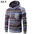 Vintage Ethnic Style Print Men Long Sleeve Fleece Hoodie Casual Male Slim Hooded Sweatshirt Pocket Patchwork Boys Tops New Oct31