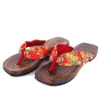 Holz sandalen 2016 Neue Mode Retro Japanischen stil verstopft mode holz flip flops hausschuhe frauen clogs hausschuhe h185