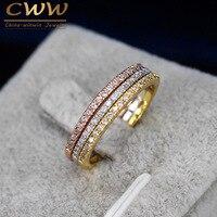 3pcs Mix Colors CZ Diamond Engagement Wedding Ring Set Rose Gold Plated Fashion Famous Brand Rings