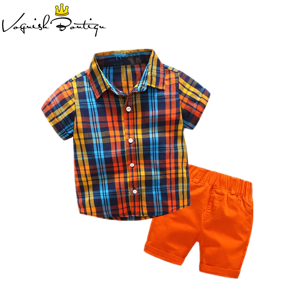 Summer clothes kids clothing set short sleeve plaid shirt with orange shorts for casual clothes boys clothes