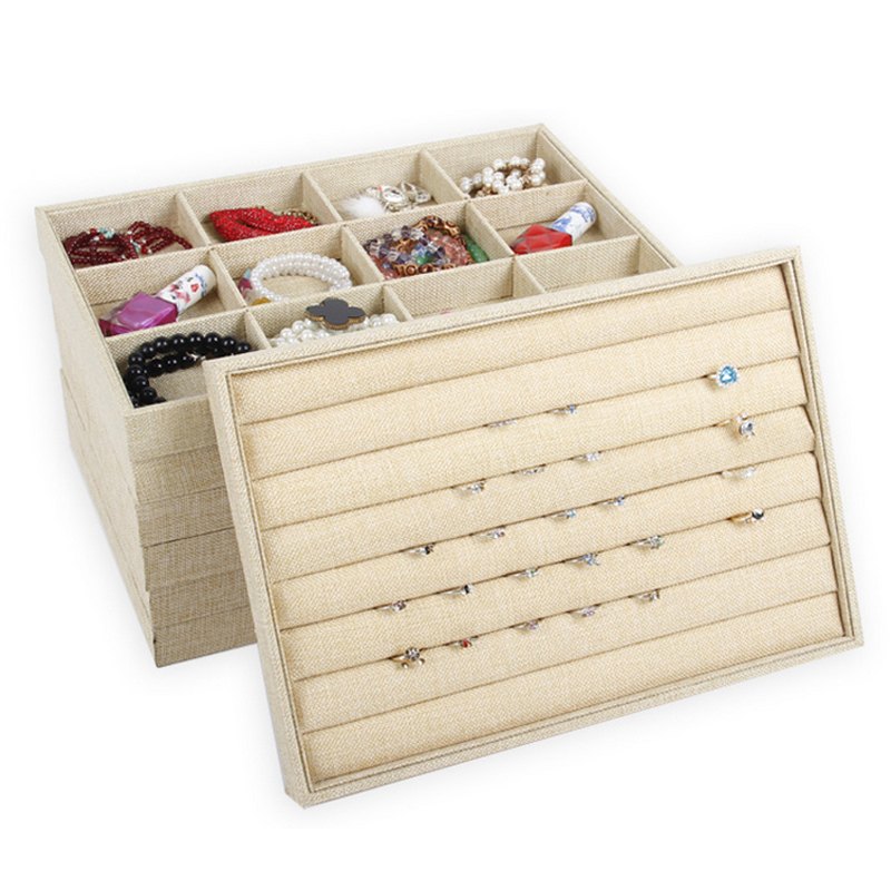 Jewelry Trays Jewelry Display Holder Linen Ring Bracelet Earring Necklace Pendant Jewelry Stand Show Storage Box Organizer Stand
