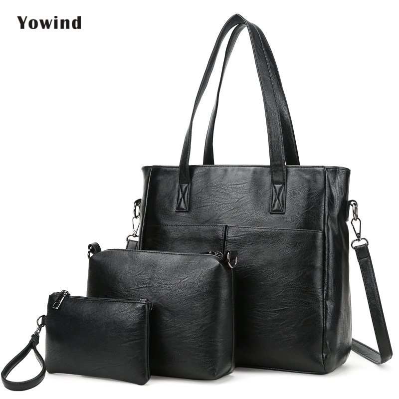 High Quality Leather Women Bag Bucket Shoulder Bags Solid Big Handbag Large Capacity Top-handle Bags Fashion New Arrivals 3 Sets rosenberg 3111