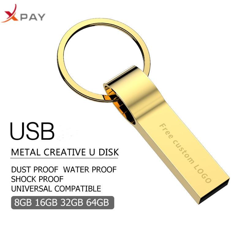 Image 2 - USB 2.0 pendrive 128GB Metal usb flash drive 32GB 4GB 8GB 16GB 64GB pen drive high quality keychain for gift usb flash free LOGO-in USB Flash Drives from Computer & Office