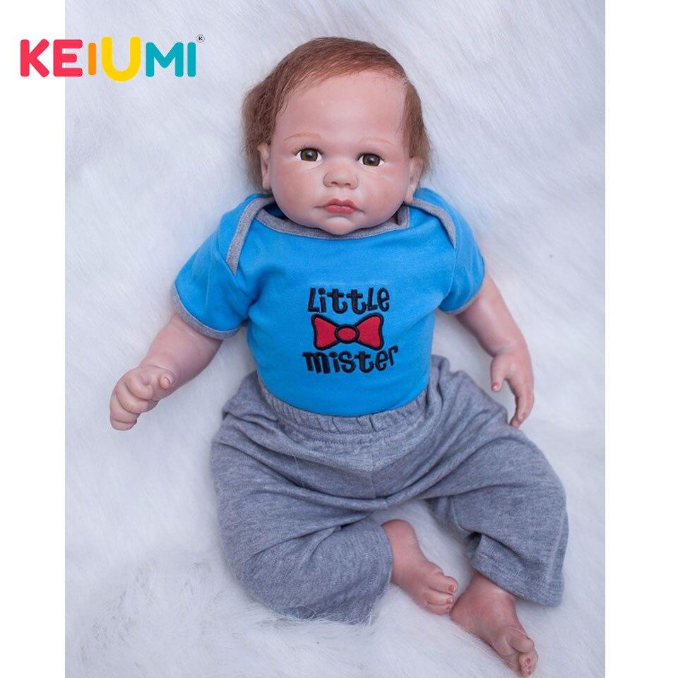 Brown Eyes 20 Inch Reborn Baby Dolls Silicone Lifelike Newborn