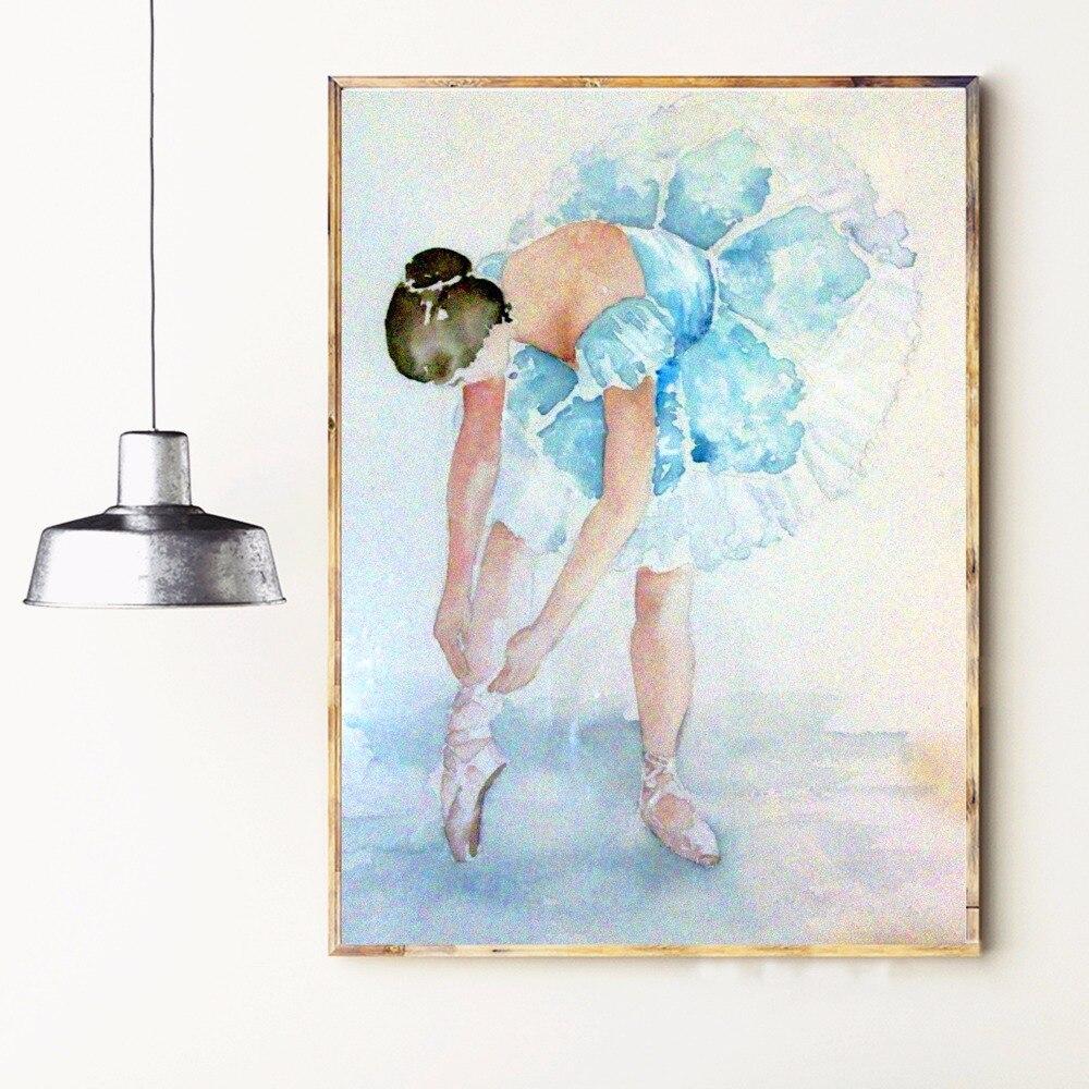 Acuarela Bailarina Mujeres Arte de la Lona Impresión Pintura Cartel - Decoración del hogar - foto 4