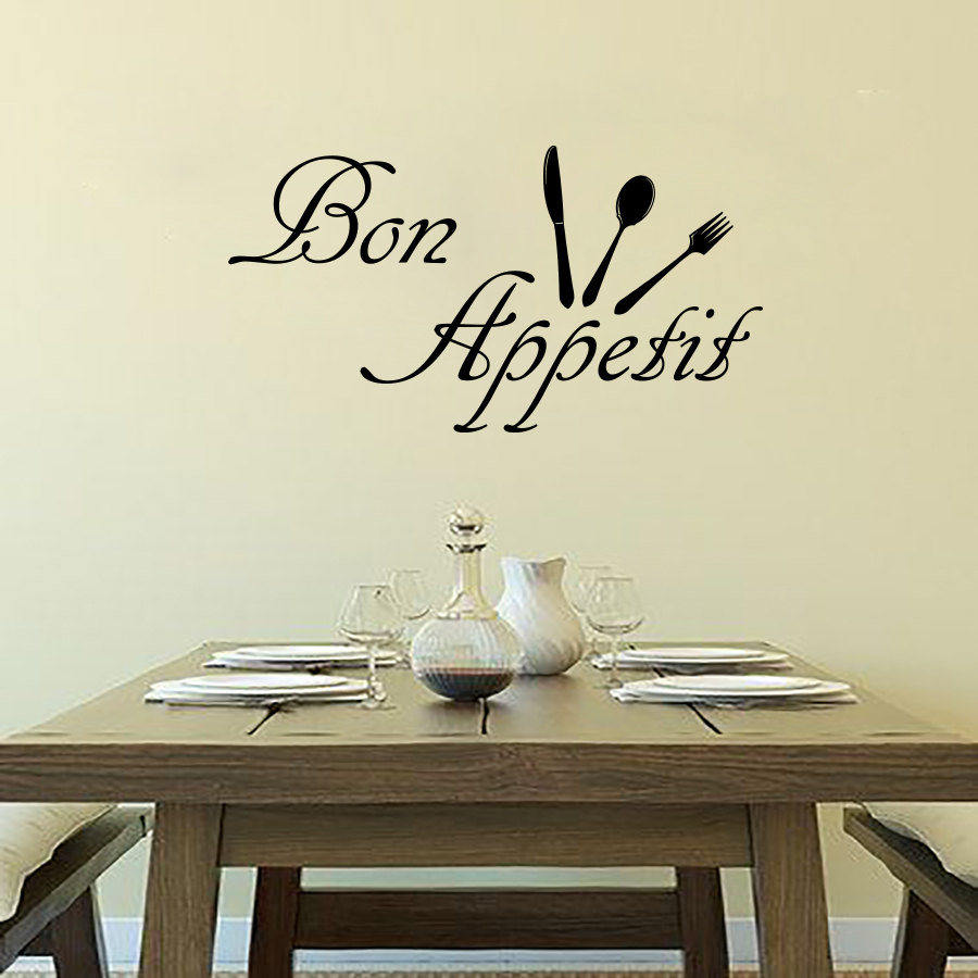 Dctop Cheap Bon Appetit Wall Decals Cutlery Removable Vinyl Diy Home Decor Wall Sticker French Sayings