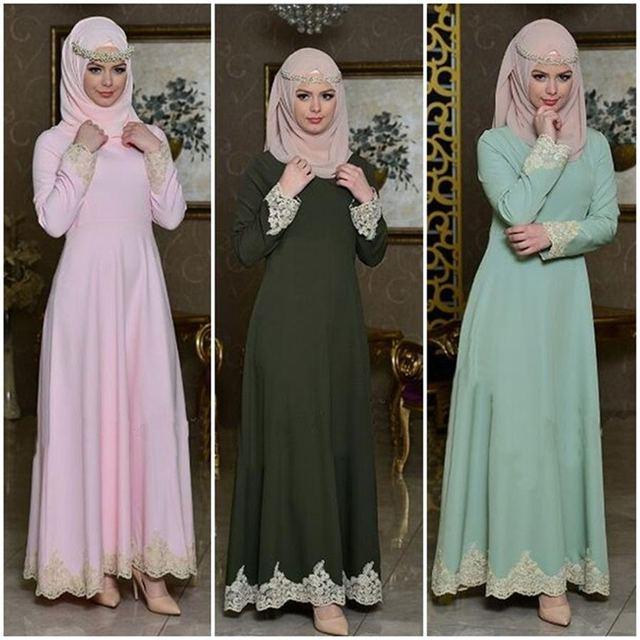 Fashion Dubai Women Evening Dress Turkish Elegant Islamic Muslim Lace  Embroidery Stitching Kaftan Abayas Clothing Robe 2f221de09953