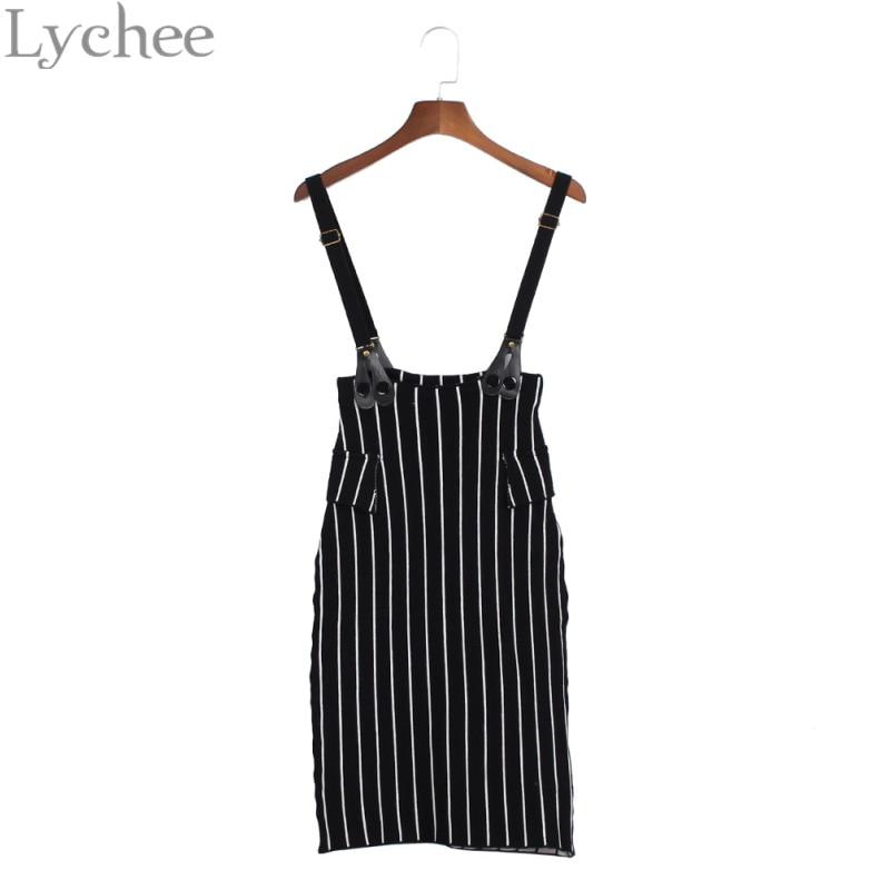 Lychee Elegant Sexy Summer Women Skirt Striped Elastic Stretch Suspender Skirt Knee Length Knitted Skirt