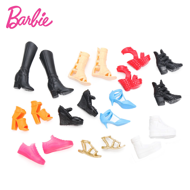 цены Barbie Shoes Accessories Set Barbie Toy Fashion Bandage Bow High Heel Sandals for Barbie Dolls Toys Birthday Gift for Girls