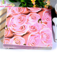 60pcs Color Printing Paper Towel Napkins Purple And Pink Roses Napkin For Decorated Wedding Fashion