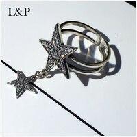 L & p 925 حلقات للنساء كلاسيكي ستار خواتم فضة مزيج macth الأزياء فاسق أسلوب تماما غرامة