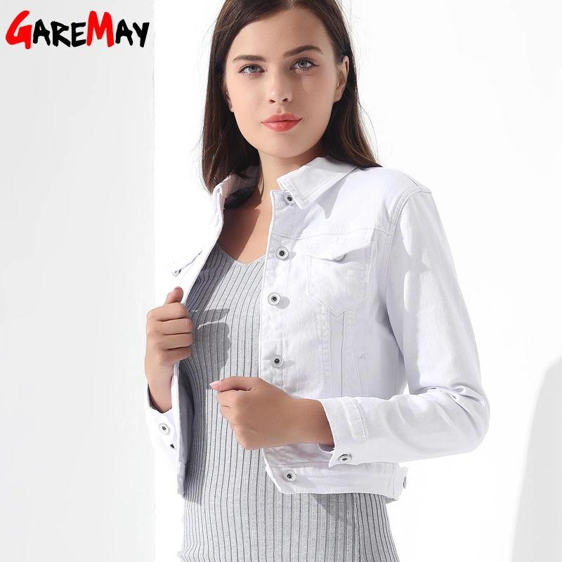 GAREMAY Basic Jeansjakke Kvinner Hvit Spring Woman Denim Denim Dame - Kvinneklær - Bilde 1