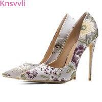 Knsvvli Newset Silk Retro Flower Color Women's Pumps Pointed End Stiletto Black Office Woman Shoes Fashion Silver Banquet Shoes