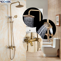 Bochsbc настенные латуни душ Европейский Стиль Ванная комната смеситель для душа Наборы для ухода за кожей горячей и холодной воды под старину