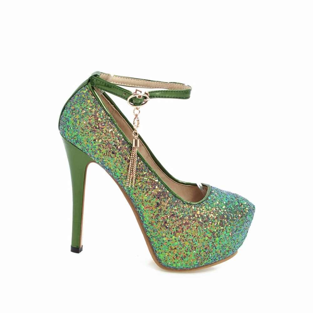 Arden Furtado wiosna jesień pasek z klamrą duże rozmiary modne buty na platformie srebrne szpilki cekinowe tkaniny błyszczy buty ślubne