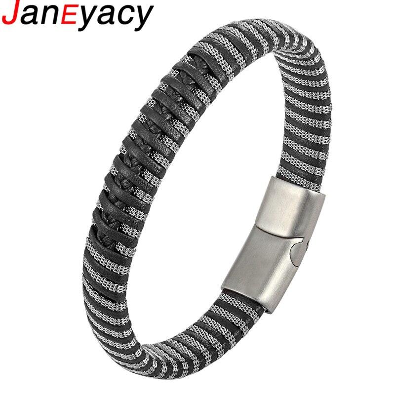 Купить janeyacy панк мужские ювелирные изделия черный/коричневый кожаный