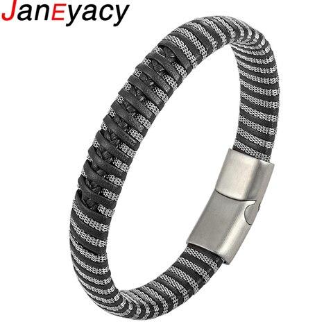 Janeyacy Панк мужские ювелирные изделия черный/коричневый кожаный