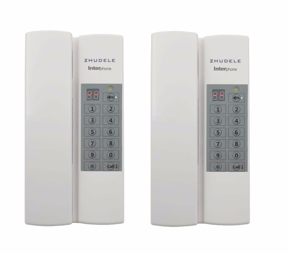 ZHUDELE Top quality home security Interphone 2-calling, safe audio door phone /intercom system 99 handle extenable+Power supply