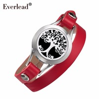EVERLEAD Tree of Life bracelets For Daughter Double wrap Red Genuine leather diffuser Valentine's Day gift Girlfriend Wholesale