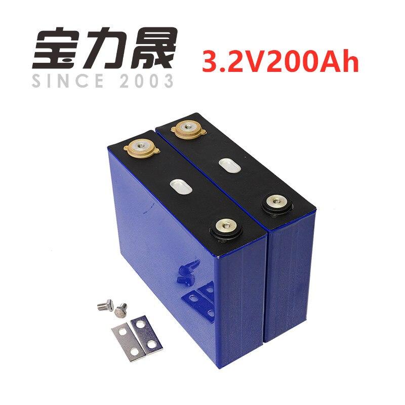 2 pçs/lote Prismatic 3.2 V 200AH 3C LiFePO4 Bateria de Ciclo Profundo para a Energia Solar Energ longa vida 3500 Ciclos para poder sistema UPS fonte de alimentação