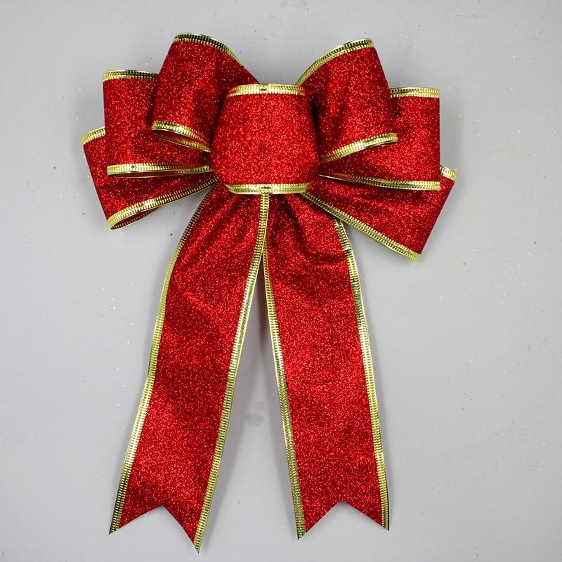3 Color Grande Rojo Plata Oro Brillante Glitter Cinta de Navidad Arco - Para fiestas y celebraciones - foto 2