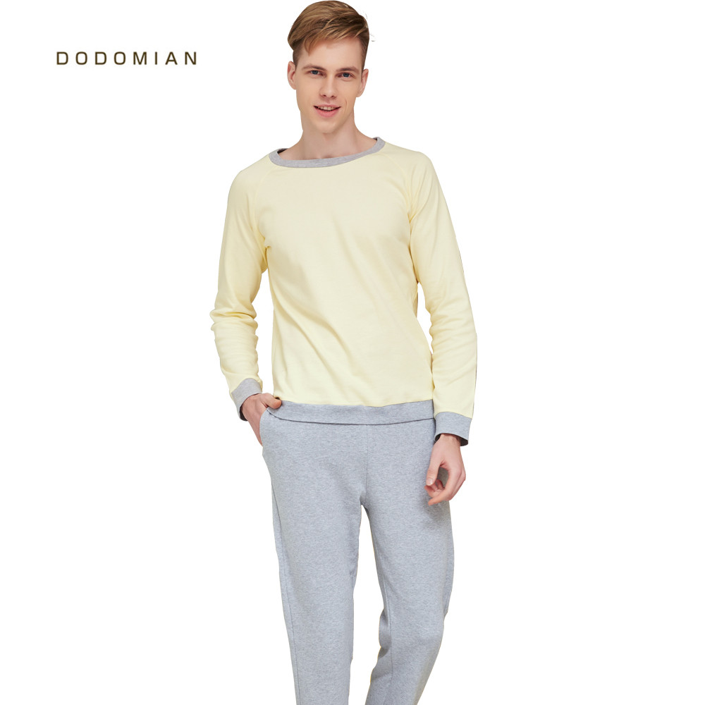 Men   Pajamas     Set   Cotton Full O-neck Night Casual Sleepwear Tops+Pants   Set   Spring Men Home Clothes High Quality Male Tracksuit