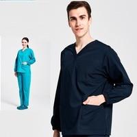 Hastane Güzellik Salon Kliniği Erkekler Kadın Doktor V Yaka Fırçalama Seti Hemşire Elastik Kollu Tıbbi Üniforma Sağlık Giyim, 09 S