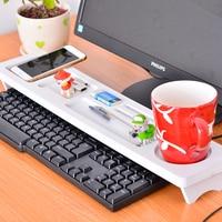 LASPERAL Computer Keyboard Storage Shelf Rack Desktop White Wooden Plastic Board Pen Zakka Holder Home Decor