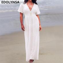 ae71bc41b Sexy túnica de playa Mujer blanco encaje Sheer Plaid Deep V cuello alta  cintura manga corta transparente verano vestido largo Pa.
