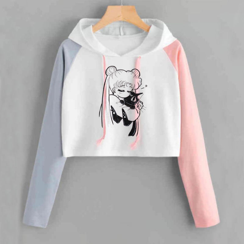 Sailor Moon Crop Hoodies Sweatshirts Women Kawaii Clothes Long Sleeve Harajuku Sailor Moon Cat Copped Hoodie For Ladies Gils