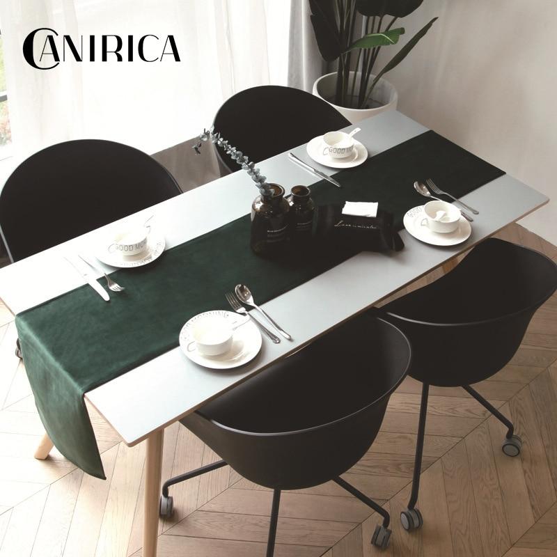 CANIRICA Table Runner Black Table Runners Luxury Velvet Wardrobe Chemin De Table For Home Kitchen Table Wedding Decoration Gift