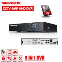 NINIVISION 4CH 4MP AHD видеорегистратор Цифровой Регистраторы для видеонаблюдения Камера Onvif сети 16-канальный IP HD 1080 P NVR почтовое аварийное