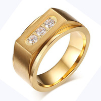 Top Quality Stainless Steel Jewelry 18K Real Gold Plated Men Ring With AAA CZ Diamonds Wedding