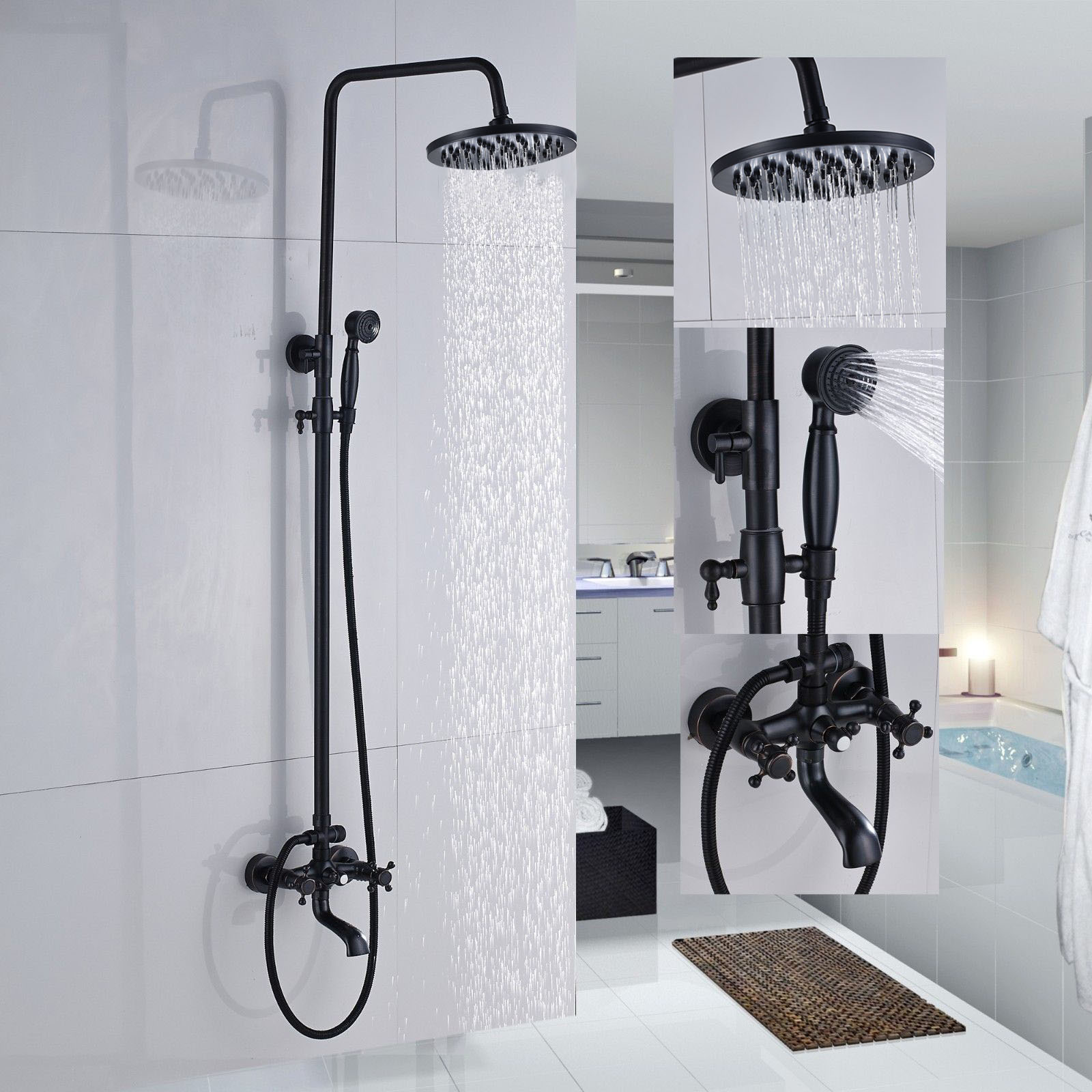 Shower Faucets Oil Rubbed Bronze Bathroom Rainfall Shower Faucet Set Mixer Tap With Hand Sprayer Wall Mounted Zd227 Shower System Aliexpress