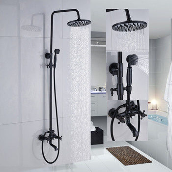 Shower Faucets Oil Rubbed Bronze Bathroom Rainfall Shower Faucet Set Mixer Tap With Hand Sprayer Wall Mounted ZD227 oubini bathroom basin sink faucet shower set faucet with hand shower black water mixer tap faucets wall mounted telephone type