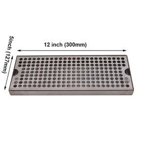 """Image 3 - Surface Mount Drip Tray No Drain, 12""""L x 5""""W x 3/4""""H, 304 Stainless Steel, Homebrew Beer Drip Tray"""