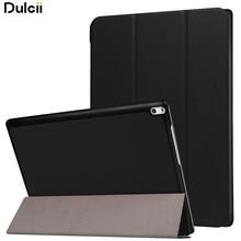 DULCII for Lenovo Tab 4 10 Plus Leather Cases Tri-fold Stand Leather Tablet Case for Lenovo Tab4 10 Plus Cover 10.1-inch – Black