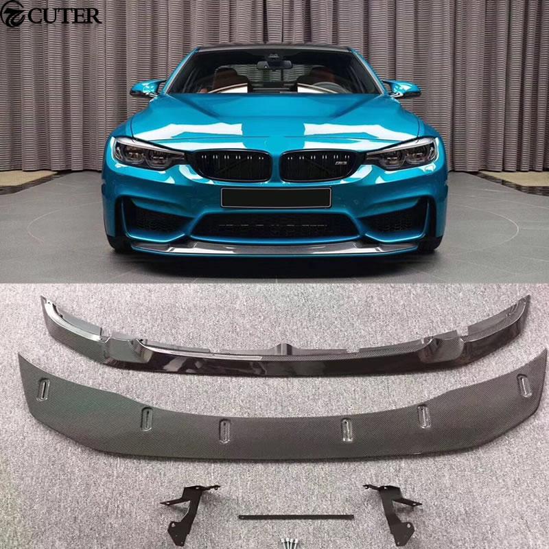 F80 F82 M3 M4 GTS Style Carbon Fiber Front bumper Lip Auto Car front diffuser For BMW F80 F82 M3 M4