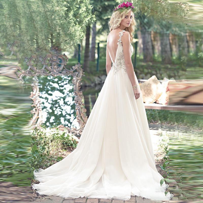 Vintage Tulle Sur Mesure Longueur Pur De V Perlée Nu Blanc Mariée Appliques Robes Dos Cristal Cou parole ZFwFTzXpa