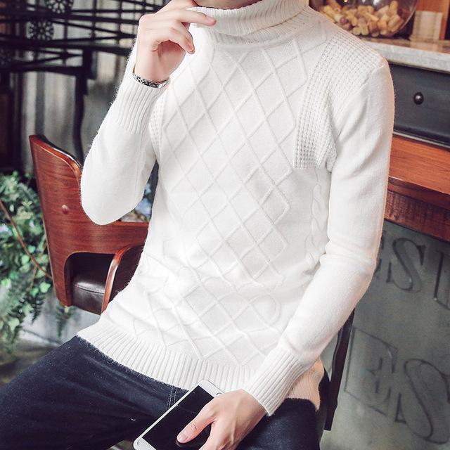 Camisola de malha de inverno homens marca S961 natal camisola sólida dos homens de gola alta slim fit mens camisolas elegante puxar homme