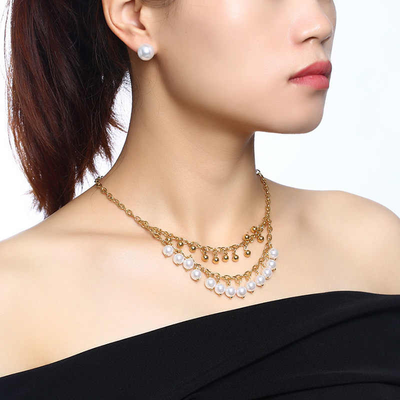 Vnox Elegant Women Jewelry Set Choker Necklace Stud Earring Imitation Pearls Charms Gold Color Stainless Steel Chain Beads Party