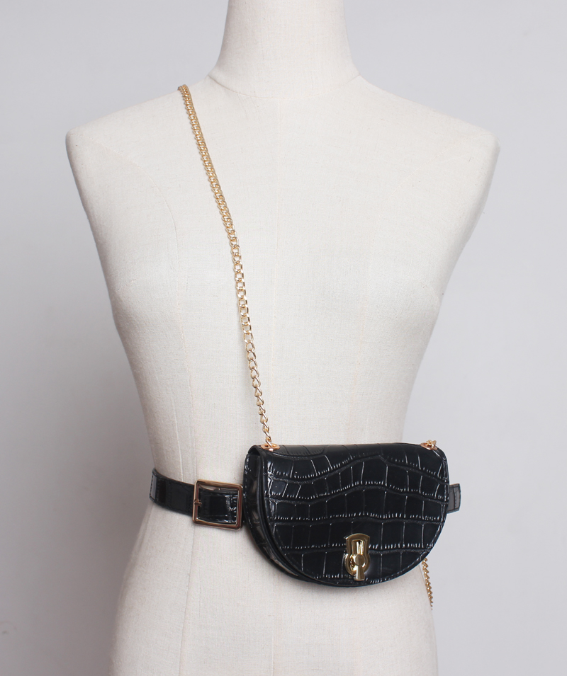 Caker Brand 2019 women half circle serpentine printing waist bags high quality chain crossbody bags wholesale