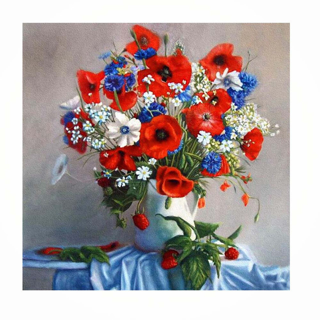 2017 Hot Sale On 5d Embroidery Paintings Vase Flower Print