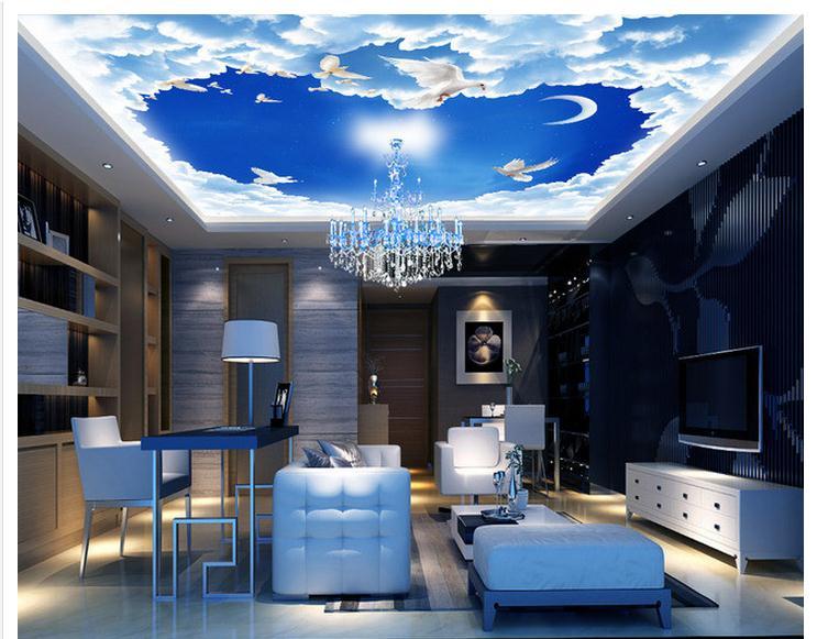 φ φcustomized 3d Wallpaper 3d Ceiling Wallpaper Murals Blue Sky Bar