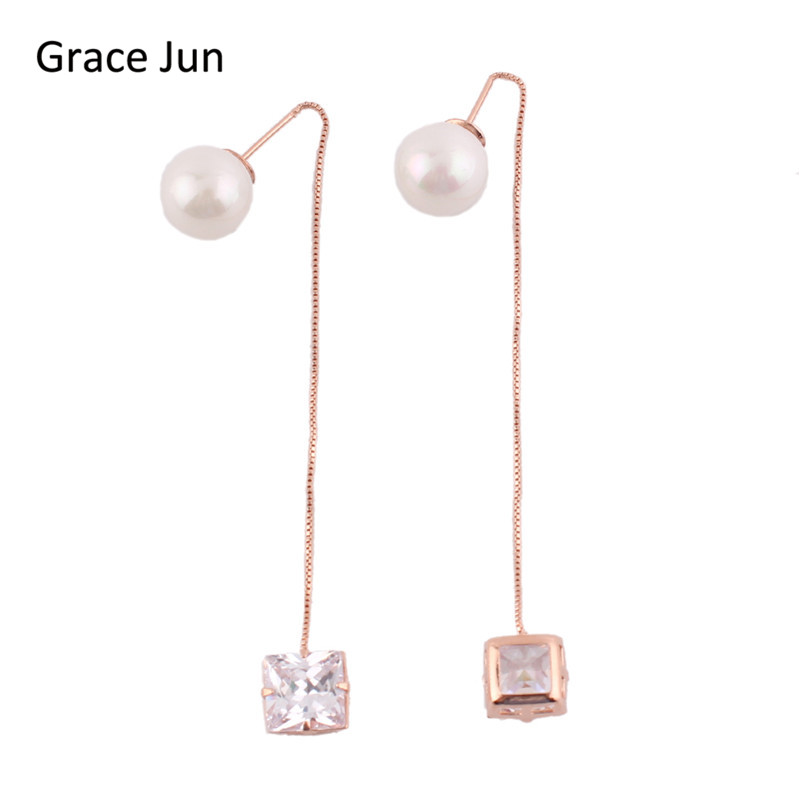Grace Jun Korea Style Long Tassel Simulated Pearl Square AAA CZ Ear Wire Dangle Drop Earrings for Girls Party Wedding Good Gift