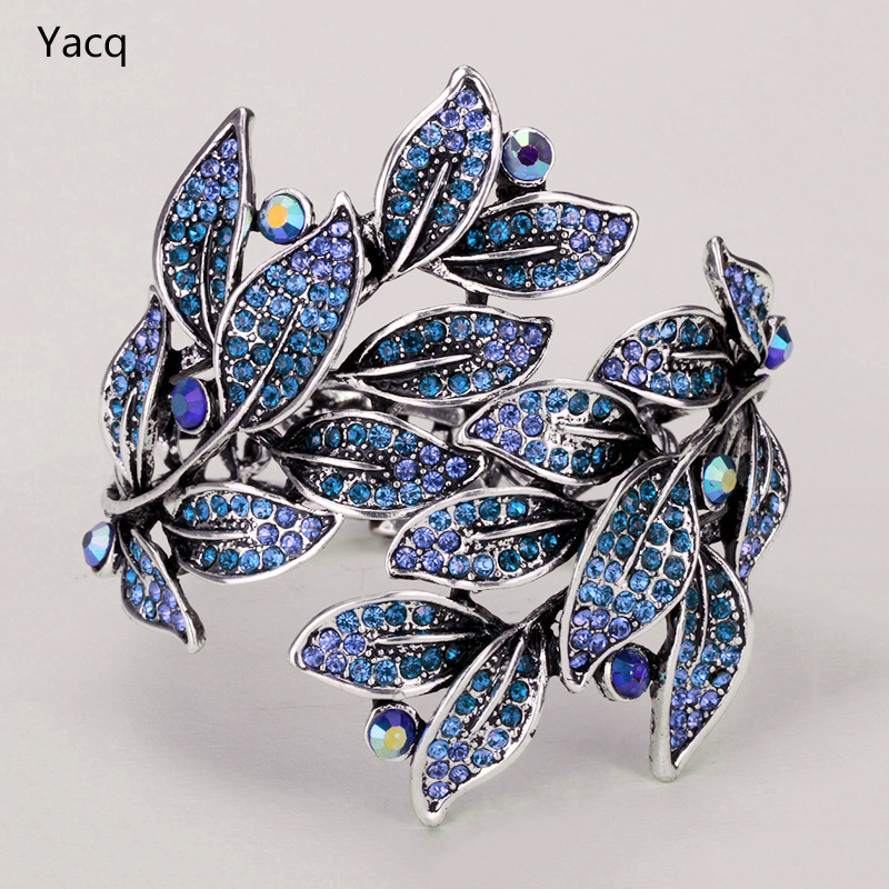 Leaf bracelet bangle for women cute summer jewelry antique gold silver color W crystal wholesale dropshipping D19