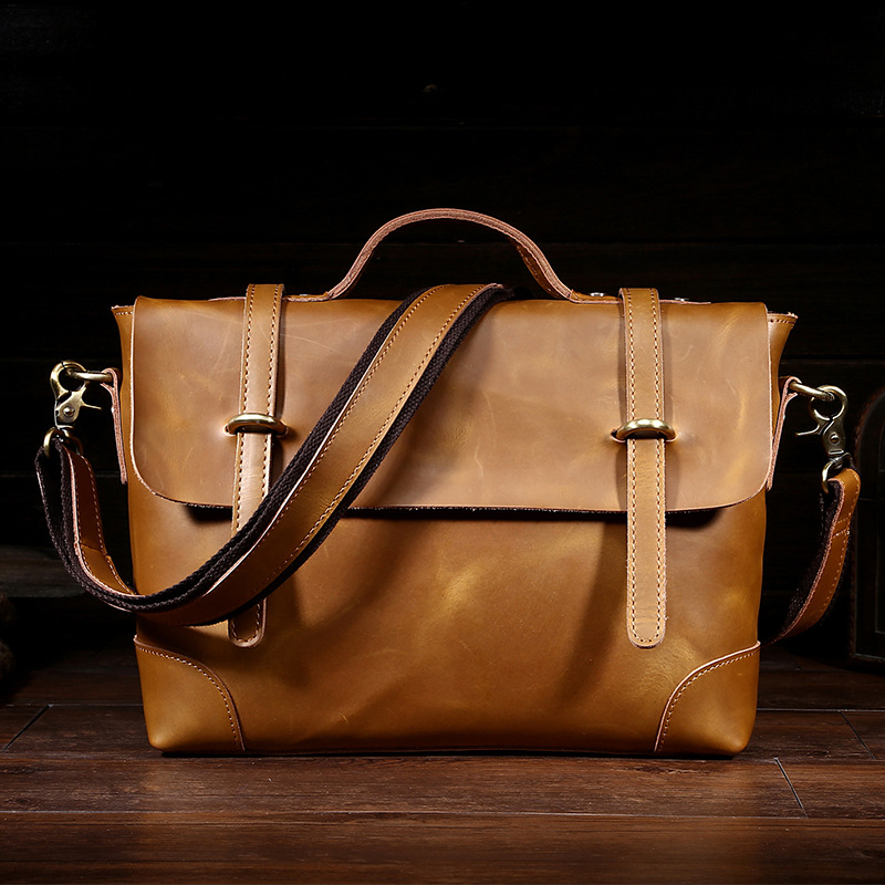Luxury REAL Crazy Horse Leather Men Handbags Vintage Small Business Briefcase Genuine Leather Casual Men Messenger Bags