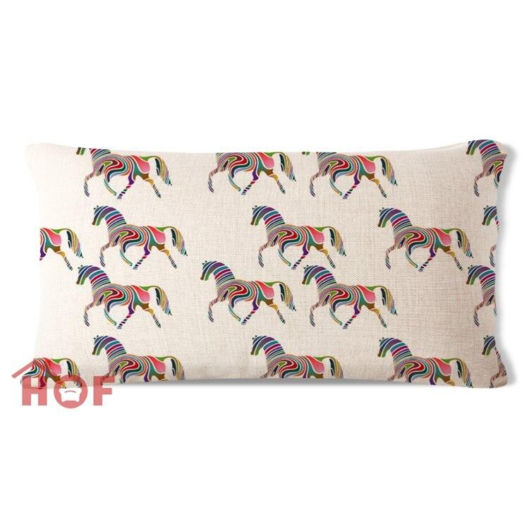 aliexpresscom buy decorative lumbar pillow case rainbow horses beige cotton linen heavy weight fabric outdoor indoor sofa car chair cushion cover from - Decorative Lumbar Pillows